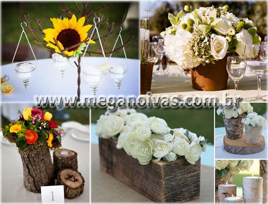 algumas idéias de arranjos para as mesas simples e românticos