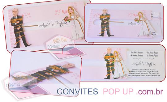 Convite de Casamento POP UP com Caricatura dos Noivos a noiva puxa o noivo por uma corda e ele vai para perto dela