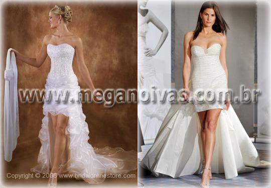 Vestido de noiva curto com saia longa