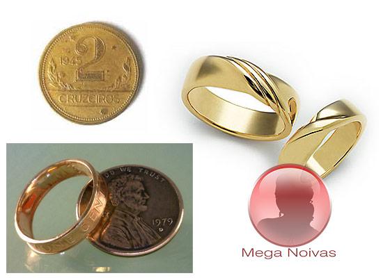 550b7712612 Aliança de Casamento de Moeda Antiga e Anel de Noivado de Moeda ...