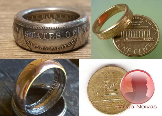 4bae9033fdf Aliança de Casamento de Moeda Antiga e Anel de Noivado de Moeda Antiga –  Mega Noivas
