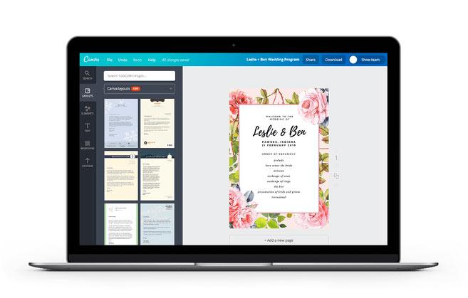 Site Canva para criar convites de casamento