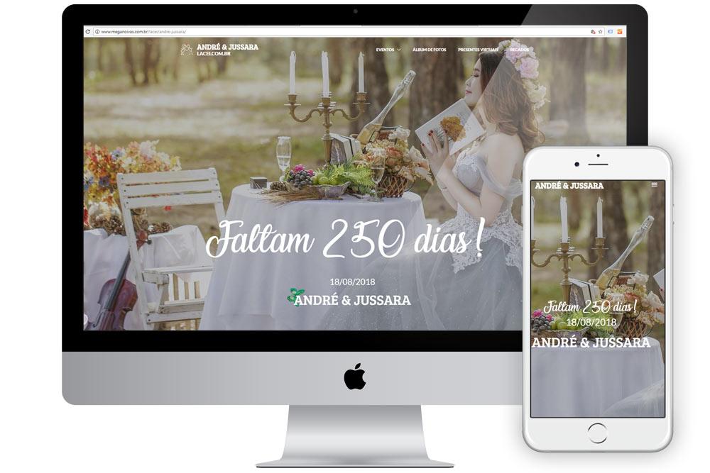 Site de casamento com convite de casamento virtual